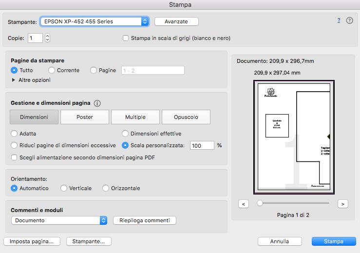 come stampare un cartamodello PDF